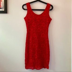 Vintage Red Lace Bodycon Dress Small